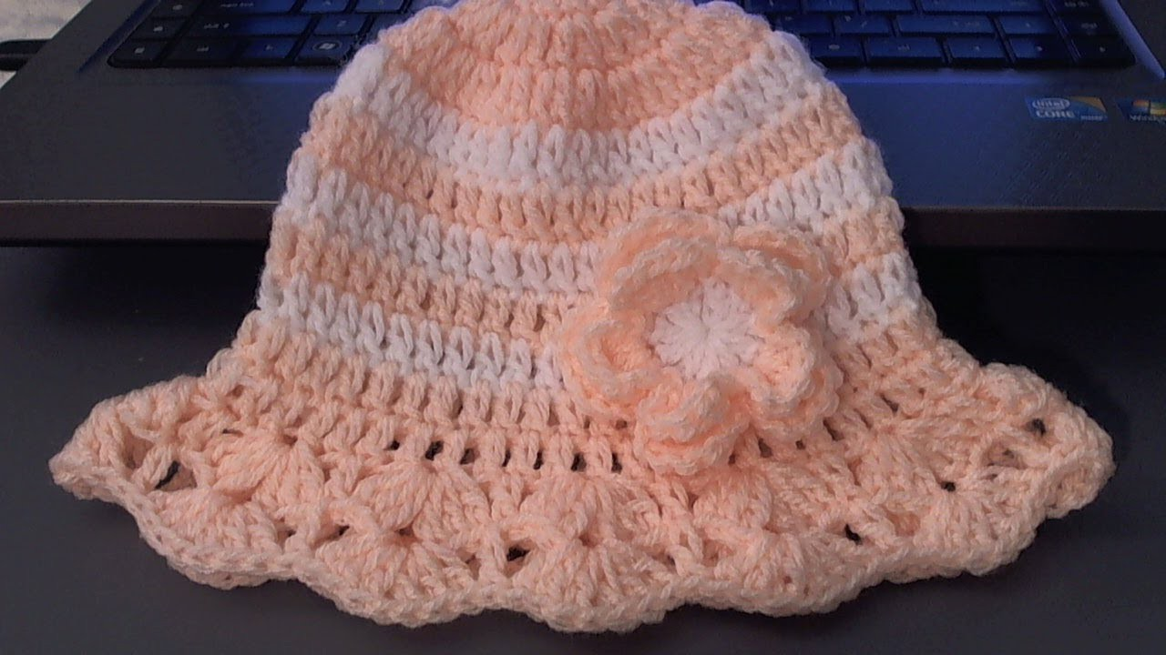 How to crochet baby . childs hat for summer (tambien en Espanol)