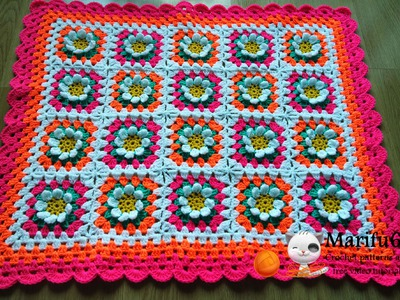 How to crochet baby flower blanket afghan free pattern tutorial by marifu6a