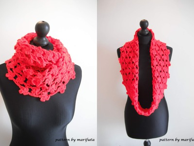 How to crochet flower cowl scarf for beginners free pattern tutorial by marifu6a