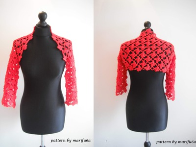How to crochet flower red bolero shrug for beginners free pattern tutorial by marifu6a