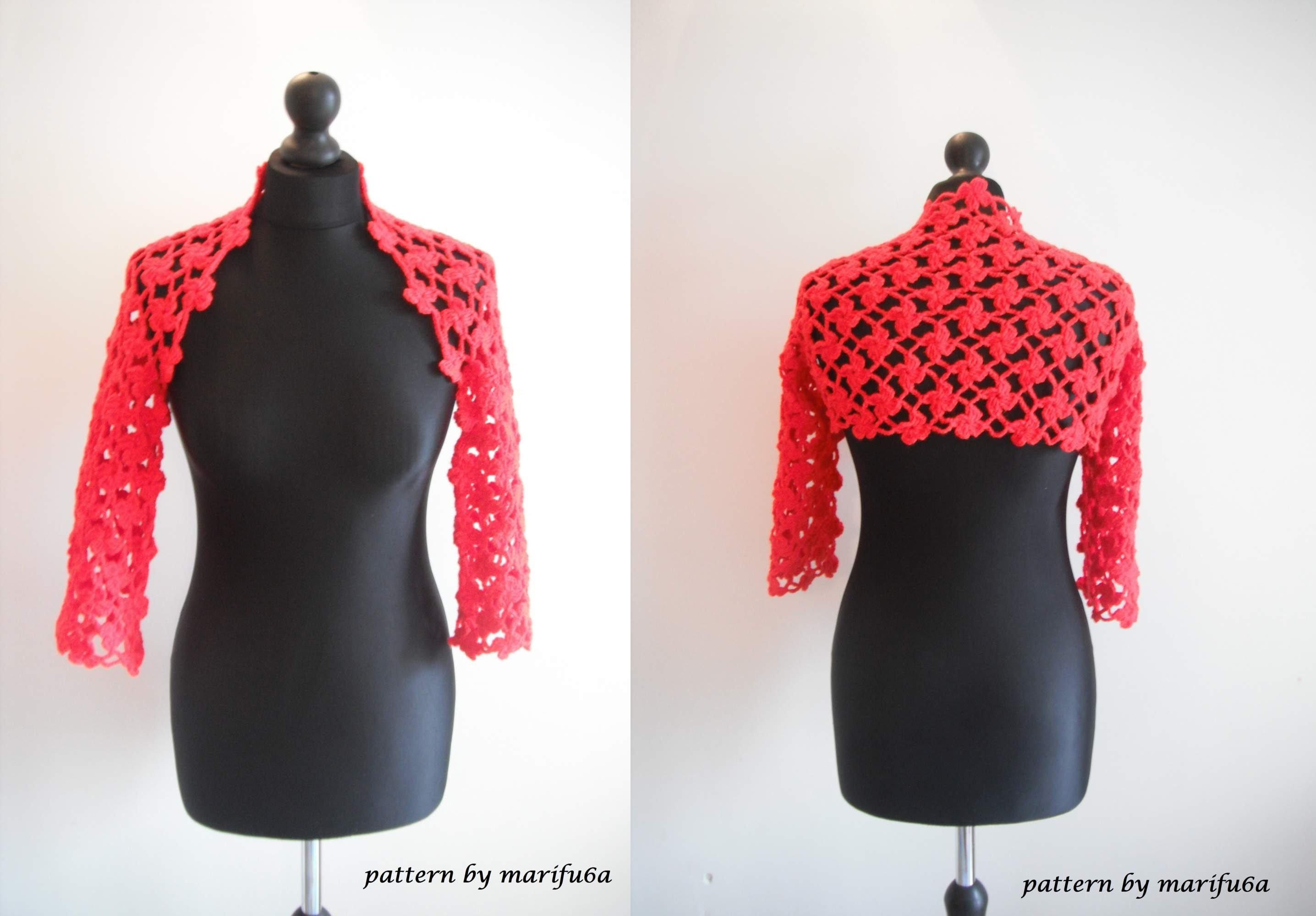 Crochet Flower Jacket Pattern : How to crochet flower red bolero shrug for beginners free ...