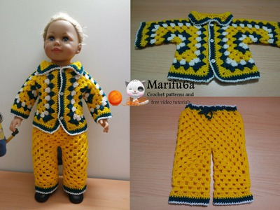 How to crochet for beginners baby costume jacket and pants free pattern tutorial by marifu6a