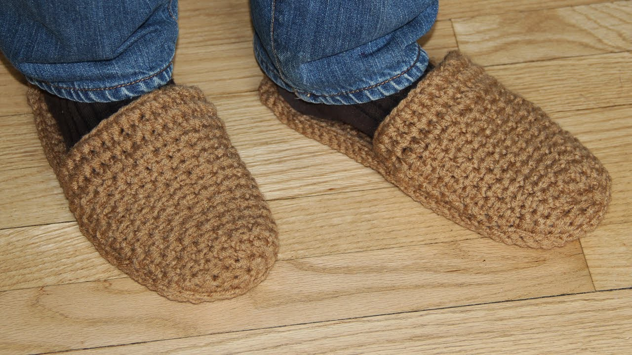 How to crochet men's slippers - video tutorial for beginners