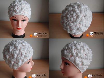 How to crochet puff hat free pattern tutorial by marifu6a