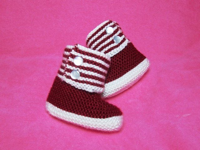 How to Knit Boot Style Red and White Baby Booties Part 1 - Right Bootie