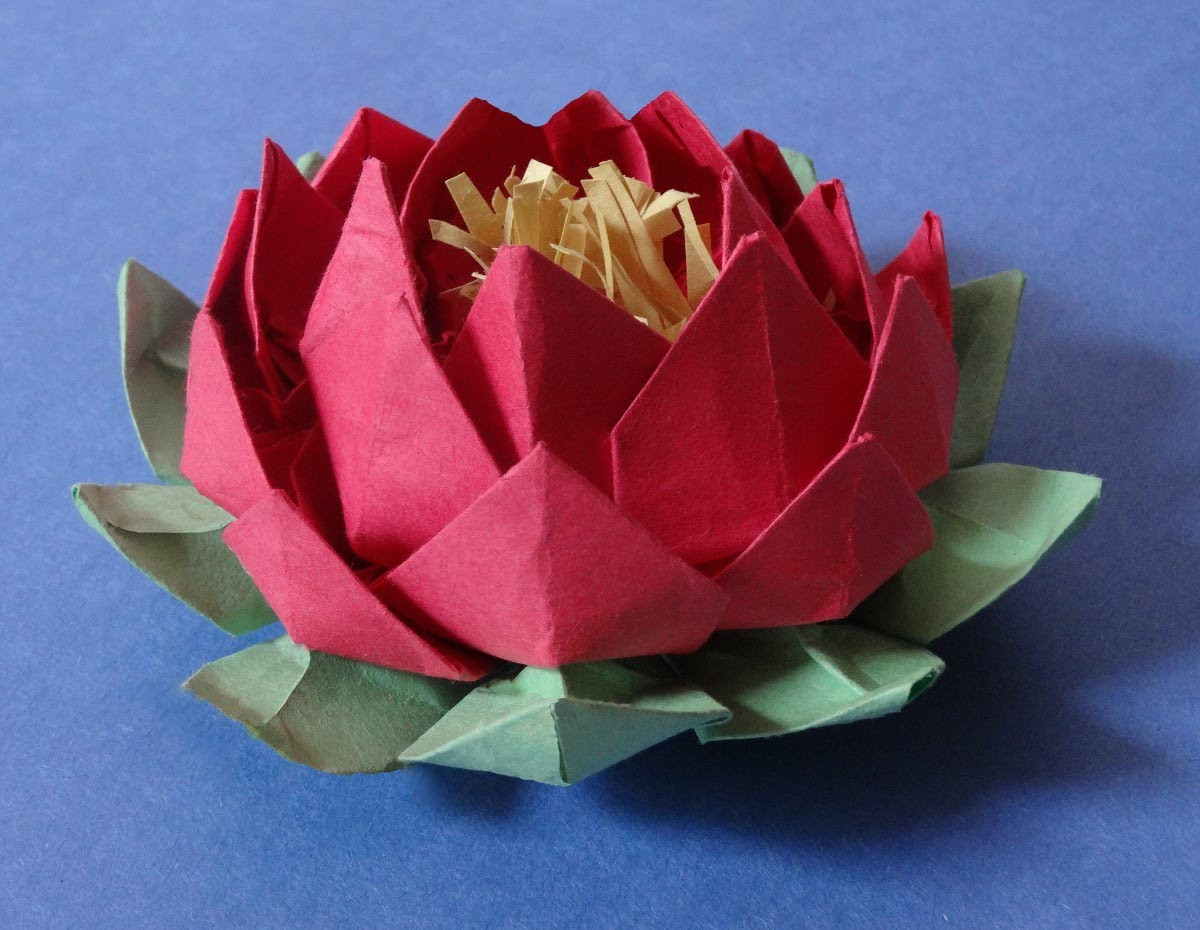 How to make 20 petal lotus with stamen( variation of origami lotus)