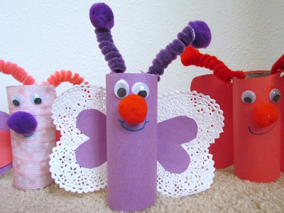 How to make a Butterfly from toilet paper tube TP Valentine craft