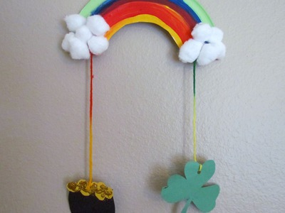 How to make a St. Patrick's Day Rainbow Mobile paper plate craft idea