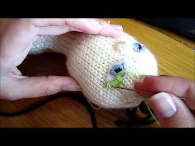 How to Make Faces on Knitted Dolls Part 04--Embroidering Eyes continued