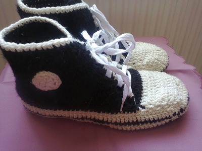 Кеды вязаные крючком. Ч.1.  Sneakers crochet. P.1.