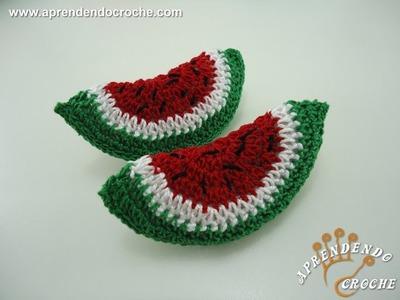 Mini Fruta - Melancia em Croche - Aprendendo Crochê