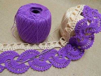 Orilla # 14 Abanicos dos colores Crochet parte 1 de 2