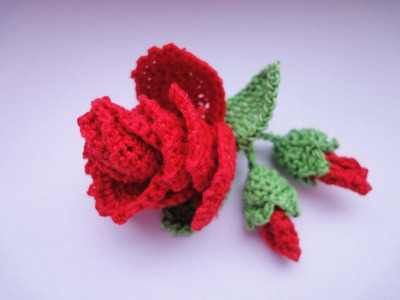 Роза с бутонами  Rose and flower buds Crochet