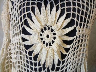 Шаль с цветком Ч 2 Shawl with large flower Crochet Р 2