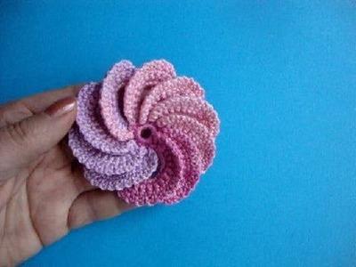 Спиральный цветок Вязание крючком Урок 22 Spiral crochet flower