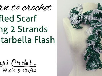 Crochet Ruffled Scarf Using 2 Strands Of Starbella Flash