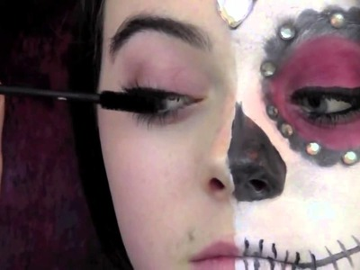 DIY Day of the Dead Sugar Skull Makeup,Outfit,Hair! Halloween Costume