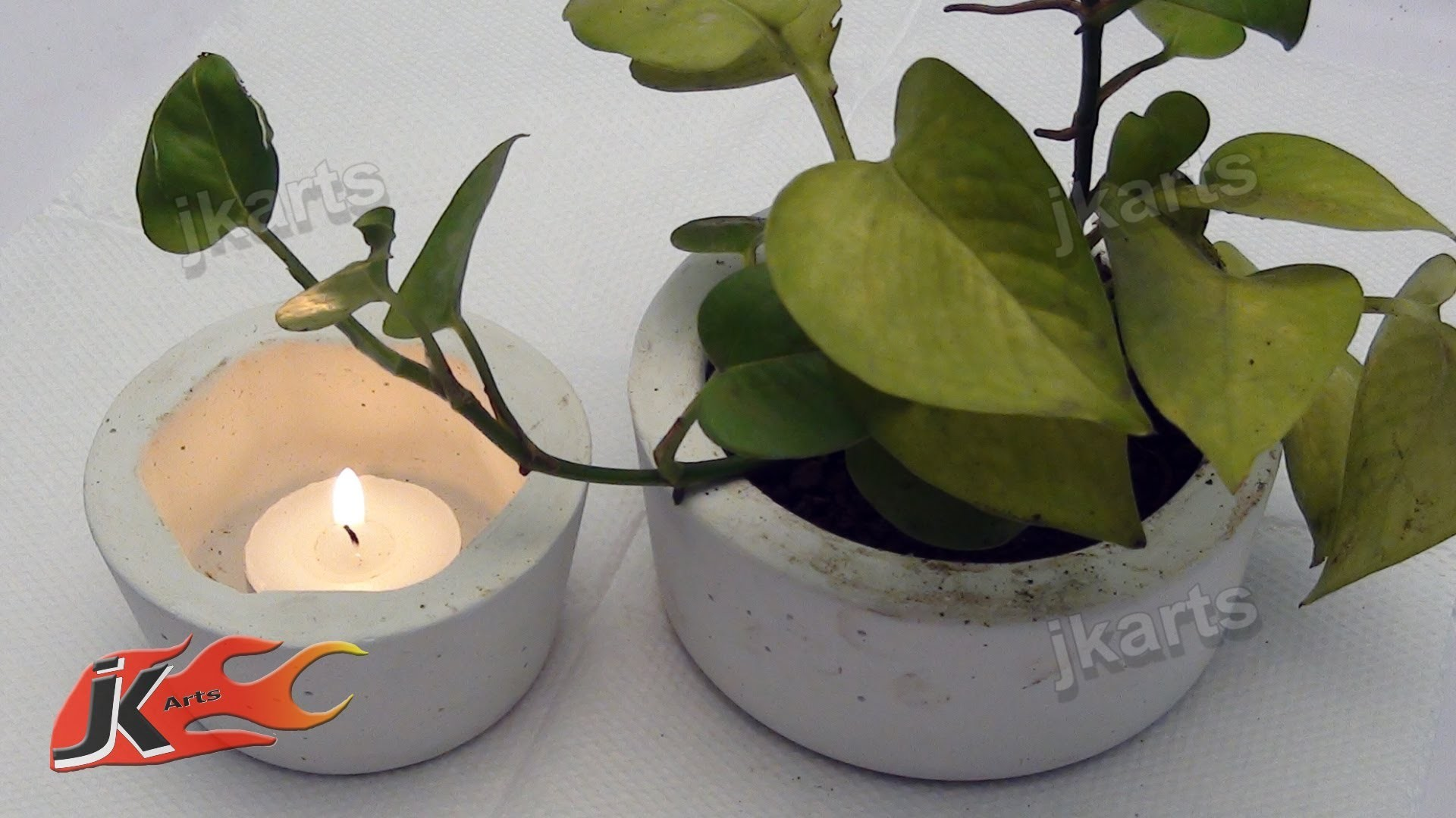 DIY How to make Cement Planter | candle holder | Ashtray - JK Arts 104