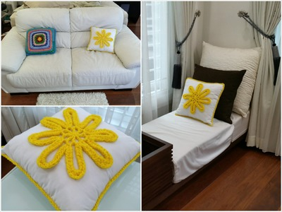 DIY Room Decoration. Decorative Cushion (Crochet  Flower)