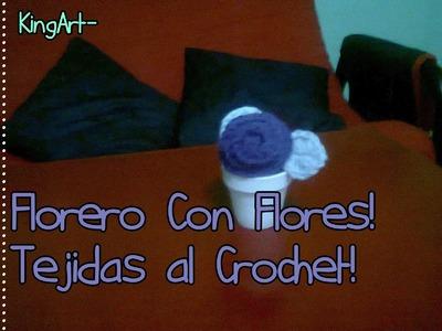 Florero con Rosas tejidas al Crochet - Tutorial (Vase With Roses Woven Crochet)
