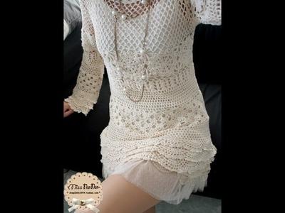 How to crochet elegant summer mini dress