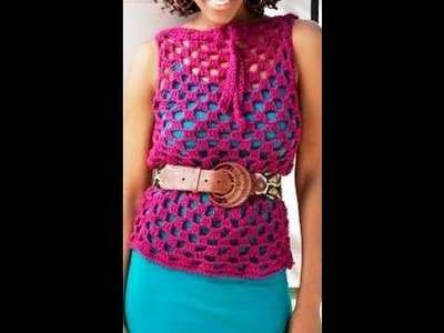 How to Crochet Top overlay - RedHeart Pattern. video one
