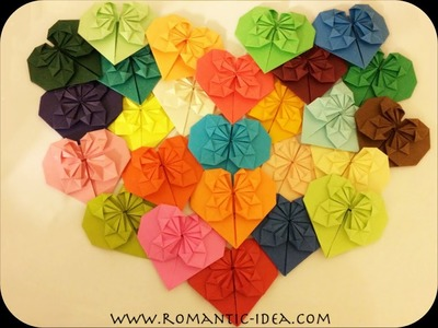 How to fold pretty and easy paper heart, paper heart origami, Valentins's heart| Romantic-idea.com