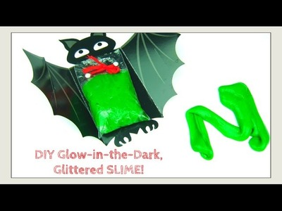 How to Make SLIME!! Glow-in-the-Dark Glitter SLIME - Halloween Crafts - Kids Crafts Silly Putty