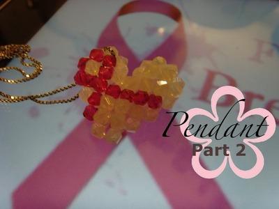MeiIris' Puffy Beaded Heart Ribbon Pendant 2