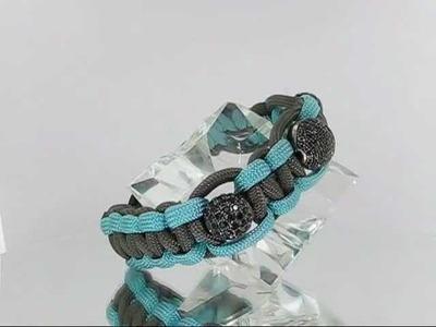 Paracord Disco Ball Silver Bead Macrame Hip Hop Bracelet w Black Crystals