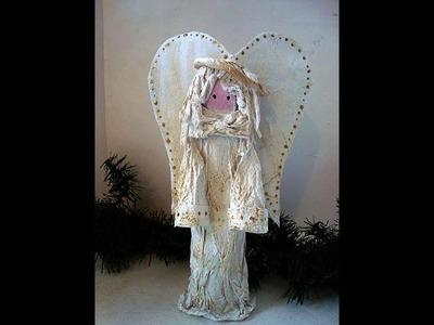 TREE TOP PAPIER MACHE ANGEL, DIY, HOW TO MAKE IT, paper crafts, paper art