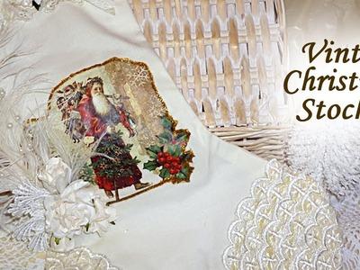 Vintage Christmas Stocking & Gift Bag. Pouch Saint Nicholaus. Santa WOC