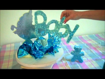 Baby Shower Centerpiece Ideas - Styrofoam Letters Styrofoam Shapes Easy to paint and glitter