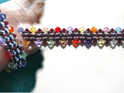 Beading4perfectionists : 6mm and 4mm Swarovski + seedbeads bracelet Beading tutorial