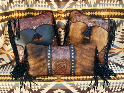 Brown & Black Pillows With Hair-On Cowhide