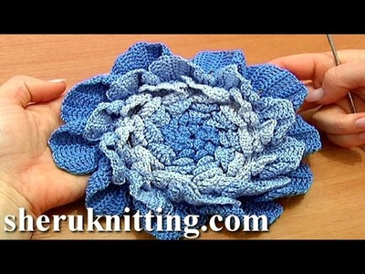 Crochet Large Layered Flower Tutorial 66 Part 1 of 3 Four Layer Center