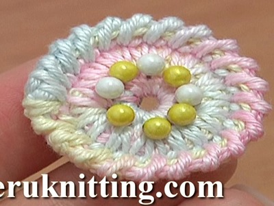Crochet Round Button Tutorial 2 Long Spike Single Stitches Long Reverse Single Crochet Trim