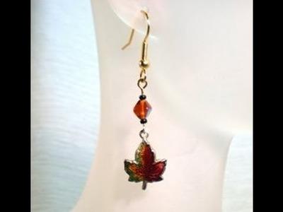 DIY Enameled Leaf Earrings