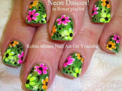 Easy Nail Art Design | DIY NAILS  Neon Daisy Nail Tutorial