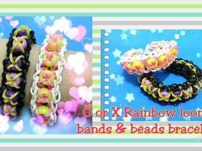 Rainbow loom cross bracelet with beads loom bands tutorial (original design)