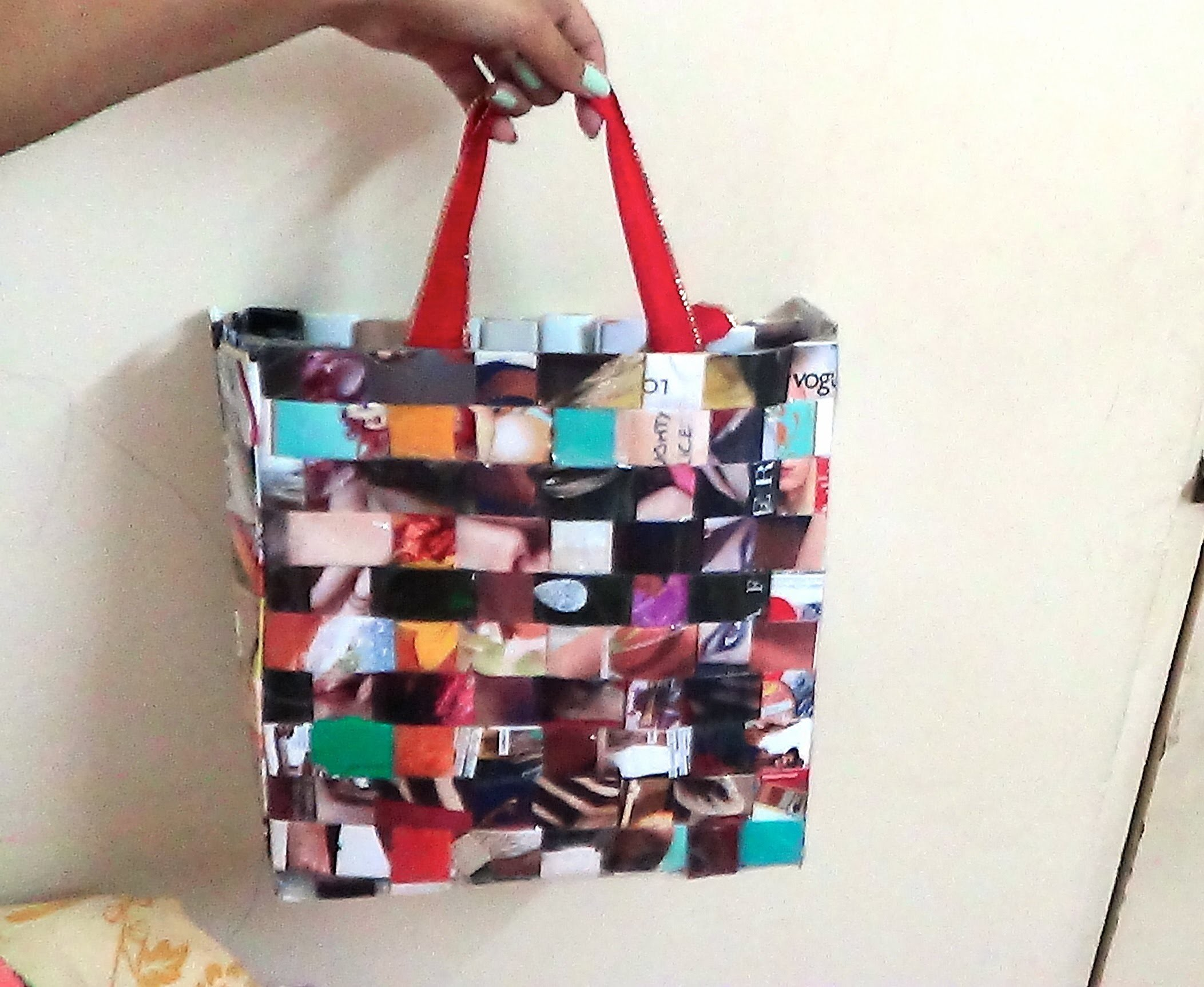 Recycled Woven Magazine Bag DIY with Bloopers
