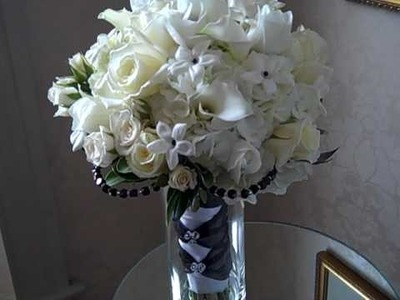 To The 9's Black and White Bridal Bouquet