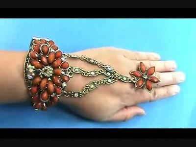 Wholesale Slave Bracelet Retro Crystal Rhinestone Cuff Bracelet Bead Ring WholesaleSarong.com