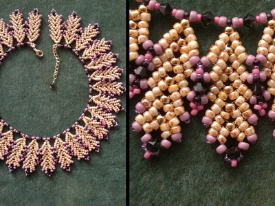 """Beading4perfectionists : """"Coral Reef"""" necklace with TOHO and Miyuki beads beading tutorial"""