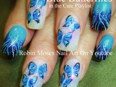 Blue Butterfly Nail Art Design Tutorial
