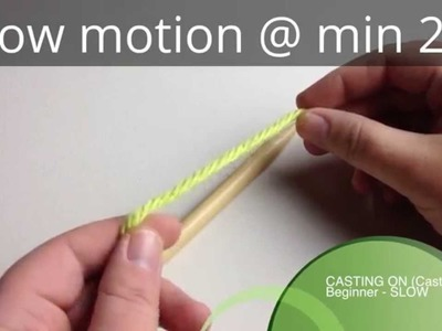 Cast On in slow motion (needles) | Knit Cast on