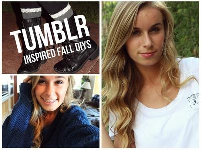 Cozy Tumblr Inspired Fall DIYS! (Bethany Mota tee, Studded Sweater, Lace Socks!)
