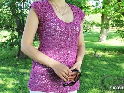 Crochet a women's lace button up blouse