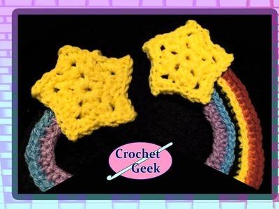 Crochet Geek- Star Rainbow Crochet Applique' Crochet Geek