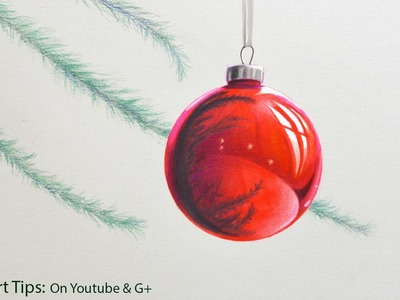 How to Draw a Christmas Sphere - Red Sphere - DIY